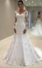 V-ausschnitt Spitze Meerjungfrau Brautkleid Lange Ärmel Für Standesamtliche Trauung GBWD131