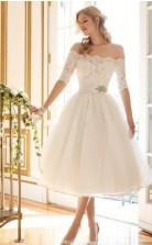 Von Der Schulter Eine Linie Halbarm Kurze Brautkleider Ziel Hochzeit GBWD133