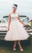 Übergröße Tee Länge Vintage Scheune 1960er Jahre Brautkleid Für ältere Braut GBWD136