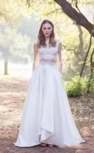 A-linie Spitze Flügelärmel Zweiteiliges Brautkleid Mit Tasche Für Zierliche Frauen GBWD137