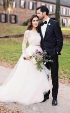 Zweiteilige Langarm Spitze Crop Top Braut Trennt Hochzeitskleid Dorf Hochzeiten GBWD138