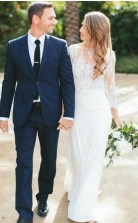 Flowy Boho Spitze Zweiteilige Meerjungfrau Langarm Brautkleid Im Freien Hochzeit GBWD140