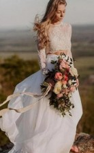 Sommer Lässig Zweiteilige Langärmelige Spitze Top Brautkleid GBWD142