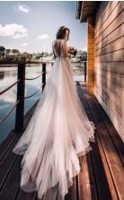 Tüll Boho Herbst Brautkleid Mit Langen Nachlaufenden Strandhochzeit Im Freien GBWD147