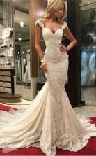 Charmante Meerjungfrau Luxuriöse Spitze Brautkleid GBWD152