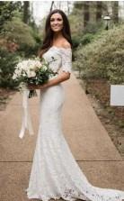 Meerjungfrau Halbarm Spitze Von Der Schulter Zweiteiliges Hochzeitskleid Kurvige Bräute GBWD155