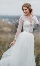 Rustikale Illusion Langarm Spitze Crop Top Braut Getrennt Trennt Zweiteiliges Hochzeitskleid GBWD158