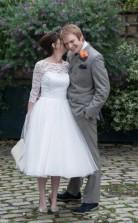 Eine Schulter 3/4 Ärmel Spitze Tee Länge 50er Jahre Stil Brautkleid 2. Ehe GBWD166