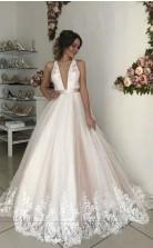 Ballkleid Tauchen Tief V-ausschnitt Tüll Rosa Hochzeitskleid Spitze Overlay GBWD172