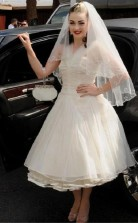 Rockabilly Tee Länge Geraffte 50er Jahre Stil Kurze Hochzeitskleid Flitterwochen GBWD176