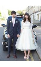Rockabilly Halbsärmel Spitze 50er Jahre Hochzeitskleid Teelänge Brautkleid GBWD177