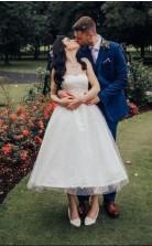 Trägerlose Kurze Rockabilly Vintage Inspiriert 1950er Jahre Tupfen Hochzeitskleid Gartenparty GBWD179
