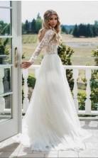Flowy Eine Linie Langärmelige Romantische Spitze Brautkleid Im Freien Hochzeiten GBWD180