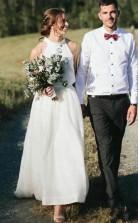 Halfter Lässig Land Ernte Top Braut Trennt Zweiteilige Outdoor-hochzeitskleid GBWD182