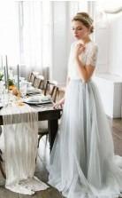 Fließende Rustikale Spitze Kurzärmelige Ernte Top Herbst Sommer Hochzeitskleid Brautjungfer GBWD185
