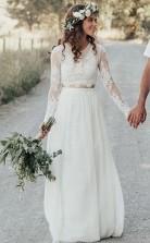 Spitze Fließende Braut Trennt Langärmlige Zweiteilige Outdoor-brautkleid GBWD188