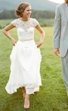 Eine Linie Einfache Landmütze Ärmel Garten Hochzeitskleid GBWD192