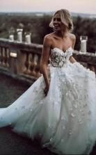 Schatz 3d Applikation Ballkleid Blume Brautland Hochzeitskleid GBWD193