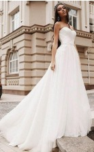 Einfaches Chiffon Strand Trägerloses Straßen Rustikales Hochzeitskleid GBWD200