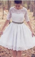 Vintage 1950er Jahre Kurze Knielange Halbe Ärmel Spitze Brautkleid GBWD201