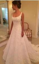 Eine Linie U-ausschnitt Spitze Zierlichen Brautkleid GBWD202