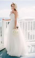 Einfache Tüll Landgurte Schatz Prinzessin Hochzeitskleid GBWD204