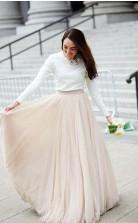 Eine Linie Champagner Langarm Zweiteiligen Hochzeitskleid Stadt GBWD205