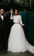 Tüll Stilvolle Lange Ärmel Zweiteiligen Hochzeitskleid Für Garten Themen GBWD206