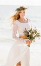 Flowy Beach Lace Langarm Zweiteiliges Brautkleid GBWD209