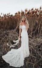 Meerjungfrau Rustikal Von Der Schulter Spitze Brautkleid GBWD213