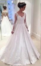 Eine Linie V-ausschnitt Spitze Langarm Brautkleid Zierliche Bräute GBWD217
