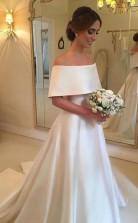 Einfaches Satin Brautkleid Von Der Schulter Brautkleid GBWD220