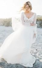 Langärmlige Strandspitze Zweiteiliges Brautkleid GBWD223