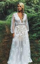 Boho-spitzenapplikation Durchsichtiges Langärmliges Rustikales Hochzeitskleid GBWD224