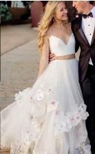 Zweiteilige Träger Langes Hochzeitskleid Mit Handgemachten Blumen GBWD226