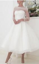 Tee Länge Langarm Vintage Kleine Weiße Kleid 1950er Jahre Hochzeitskleid GBWD231