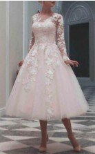 Tee Länge Spitze Langarm Lässig Vintage Land Kleines Weißes Kleid GBWD232