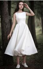Land Tee Länge Mütze Ärmel Einfach Lässig Kleines Weißes Kleid Gardern Hochzeit GBWD239