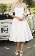 Tee Länge Satin Halbe Ärmel Vintage Pin Up Brautkleid GBWD240