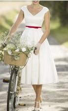 Rockabilly V-ausschnitt Tee Länge Country Cap Ärmel Vintage Brautkleid GBWD242