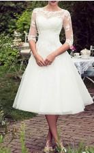 Tee Länge Spitze Tüll Halbe Ärmel Vintage Rockabilly 50er Jahre Brautkleid GBWD243