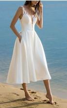 V-ausschnitt Tee Länge Spitze Strand Sommer Kleines Weißes Kleid GBWD245