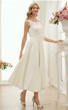 Tee Länge Einfache Rockabilly Vintage Kleine Weiße Kleid 1950er Jahre Hochzeitskleid GBWD251