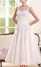 Einfache Land Tee Länge Spitze Tüll ärmellose Vintage 1950er Jahre Hochzeitskleid GBWD252