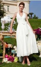 A-linie Brautkleider Halfter V-ausschnitt Tee Länge Gardern Brautkleid GBWD254