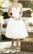 Einfache V-ausschnitt Tee Länge Chiffon Kurzarm Vintage 60er Jahre Brautkleid GBWD255