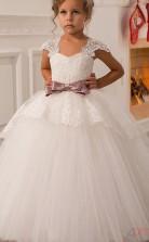 Ballkleid Kurzarm Kinder Blumenmädchen Kleid CH0105