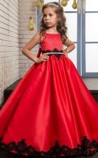 Rubinrot Prinzessin Cristal ärmellose Kinder Ballkleid Für Mädchen CH0124