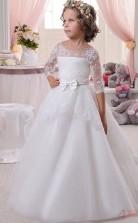 Prinzessin Junge Mädchen Halben Ärmel Kinder Erste Heilige Kommunion Kleid Mit Schleifen CH0137