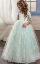 Prinzessin Langarm Kinder Ballkleid Für Mädchen Mit Spitze CH0138